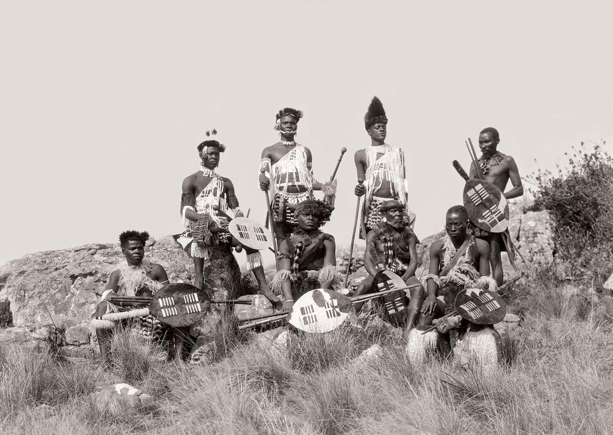 Xolo (Zulu) men in festive dress, Port Shepstone district. (Duggan-Cronin, 2007. Pg. 19, Plate 4)