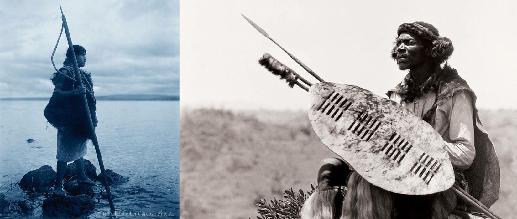 Detail of 'Ben Mdiliza, Shangaan warrior, Thabina, Limpopo.' Duggan-Cronin [left] & 'Motana with harpoon- Hesquiat(Nootka)' by Curtis