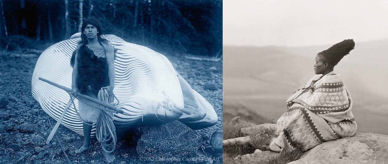 Montana with whale - Hesquiat (Nootka), Curtis [left] & Zulu woman (Duggan-Cronin)